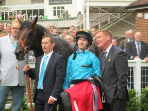 Tom Dascombe (right) was delighted with Brown Panther's victory at Sandown and is now aiming for the Ascot Gold Cup.