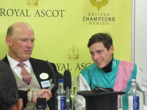 John Gosden and James Doyle speak to the racing press after Kingman's victory in the St James's Palace Stakes on the first day of Royal Ascot.