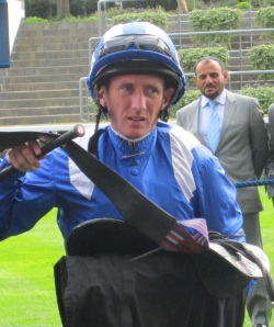 In-form jockey Paul Hanagan was aboard White Nile who slipped and fell on Day One of Glorious Goodwood.