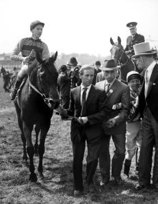 St Paddy, Lester Piggott up, is led in by trainer Noel Murless after winning the 1960  Derby (Pic: Courtesy of Great British Racing).