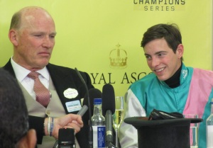 John Gosden and James Doyle after Kingman's victory in the St James's Palace Stakes at Royal Ascot.