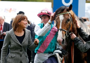 Noble Mission and James Doyle with trainer Lady Jane Cecil after  winning The QIPCO Champion Stakes Ascot. Pic: Dan Abraham-racingfotos.com (Courtesy GBR).