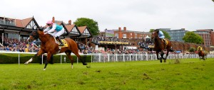 "Noble Mission and James Doyle winning The Betfair Price Rush Huxley Stakes Chester 8.5.14 Pic Dan Abraham - racingfotos.com THIS IMAGE IS SOURCED FROM AND MUST BE BYLINED ""RACINGFOTOS.COM"""