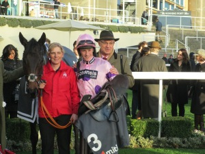 Sam Twiston-Davies and winning connections with Ptit Zig at Ascot.