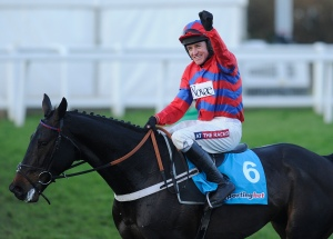 Barry Geraghty riding Sprinter Sacre celebrate after winning the 2012 Sportingbet Tingle Creek Chase at Sandown. Pic: Alan Crowhurst/Getty Images. (Courtesy of Great British Racing.