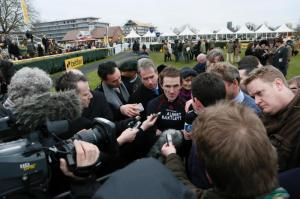 Tony McCoy speaks to members of the press at Newbury Racecourse after announcing his retirement.
