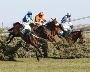 Runners jump the last fence in the Grand National. Pic: John Grossick