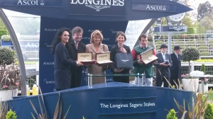 Sara Cumani (centre) after Mizzou's win at Ascot.
