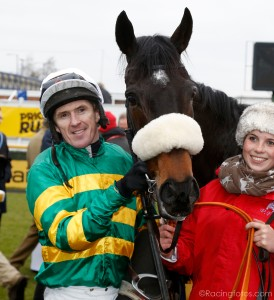 Tony McCoy and Mr Mole after riding his 200th winner of the season. Pic: Dan Abraham-racingfotos.com (Courtesy of Great British Racing).