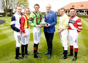 Ryan Moore (second from right) was one of five champion jockeys pictured with Andrew Tinkler Newmarket on Saturday, where he went on to win the QIPCO 2000 Guineas on Gleneagles.