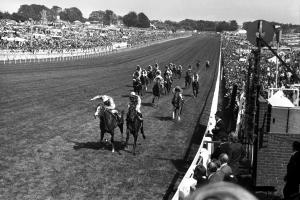 The 2015 Epsom Derby takes place on June 6. Amongst the illustrious names to win the Derby was The Minstrel (left) in 1977 for Lester Piggott. Hot Grove was second and Blushing Groom third. Pic courtesy of Jockey Club Racecourses.