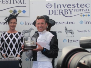 Frankie Dettori rode Golden Horn to victory in the 2015 Investec Derby.