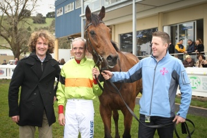 Ciaron Maher, Ruby Walsh, Bashboy and strapper after victory in the Australian Grand National. Pic: racing.com (Courtesy  of GBR).