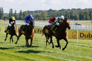 The Corsican wins the Dubai Duty Free Legacy Cup at Newbury. Pic: Courtesy of Newbury Racecourse.