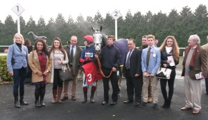 Sarah Hobbs (left) and connections after Brother Tedd won the feature hurdle race from Silvaniaco Conti and Low Key.