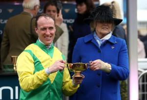 Robbie Power and Jessica Harrington after Sizing John's Gold Cup success in 2017