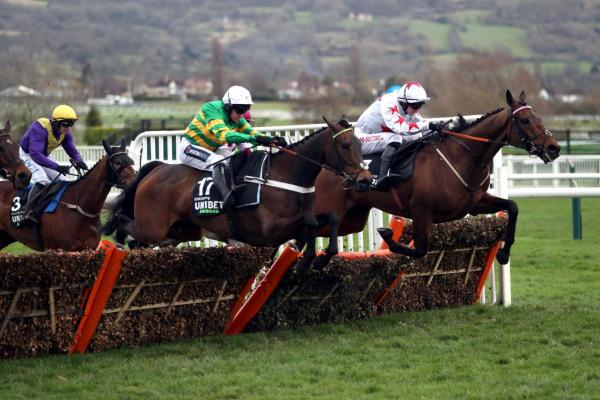 Epatante (nearside) jumps to the front